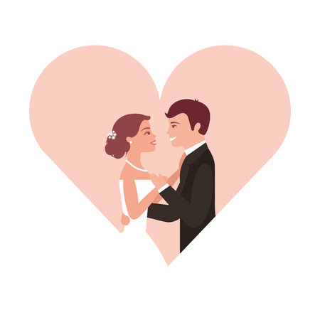 married couple in heart isolated icon vector illustration design