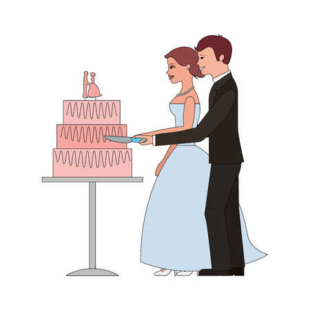 married couple with wedding cake isolated icon vector illustration design