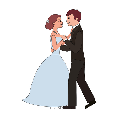 married couple dancing avatar character vector illustration design Illusztráció