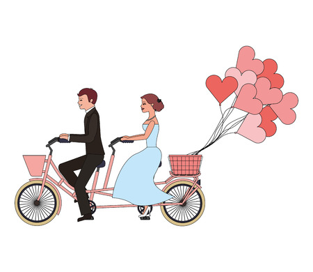 just married couple in bicycle and balloons helium with shape heart vector illustration design Ilustração