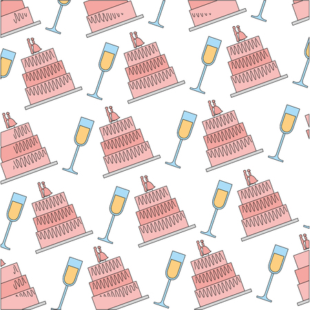 wedding cakes and cups pattern vector illustration design