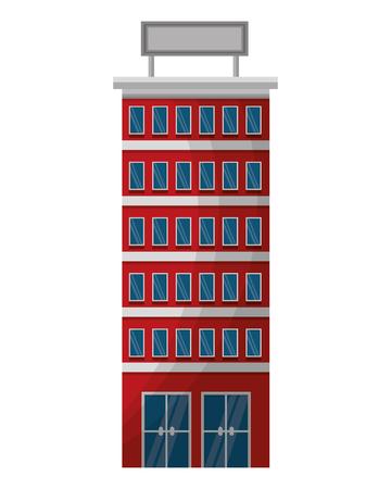 hotel building with placard on roof vector illustration Ilustração