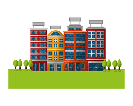 hotel buildings meadow trees nature scene vector illustration  イラスト・ベクター素材