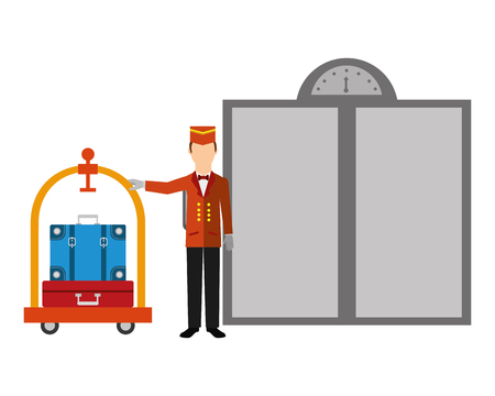 hotel bellboy and luggage trolley suitcase elevator doors vector illustration Banque d'images - 104513869