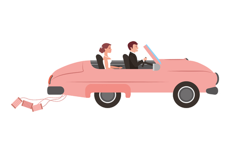 just married couple in car isolated icon vector illustration design Ilustração