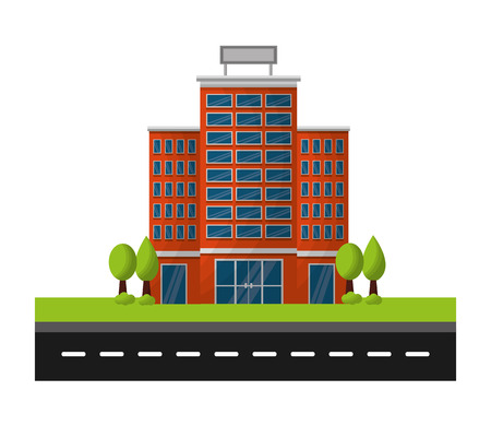 hotel buildings accommodation trees street vector illustration