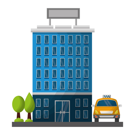 hotel building trees and taxi service vector illustration Иллюстрация