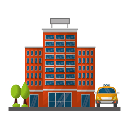 hotel building trees and taxi service vector illustration Banco de Imagens - 114994800