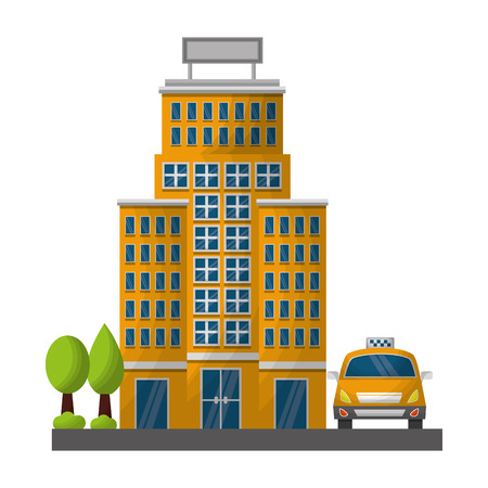 hotel building trees and taxi service vector illustration Ilustração