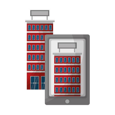smartphone searching hotel travel app vector illustration