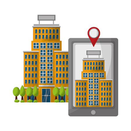 smartphone hotel building pointer map location vector illustration Illustration