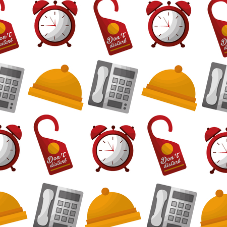 hotel bell clock alarm telephone and do not disturb tag background vector illustration Reklamní fotografie - 104523033