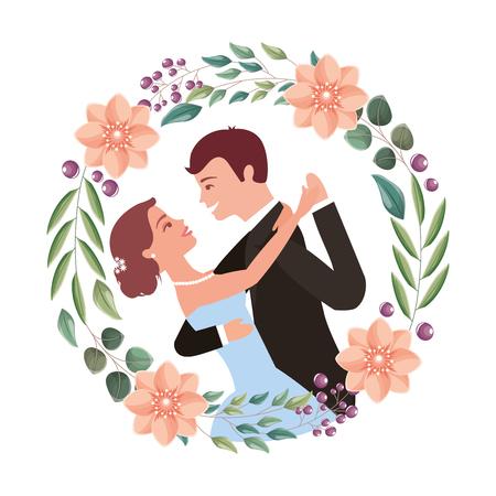 Braut und Bräutigam ihren ersten Tanzhochzeitstag auf Rahmenblumenporträtvektorillustration
