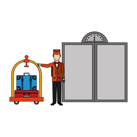 hôtel groom et chariot à bagages valise ascenseur portes vector illustration