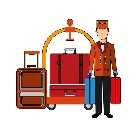 hotel bellboy carrying suitcases and luggage trolley vector illustration
