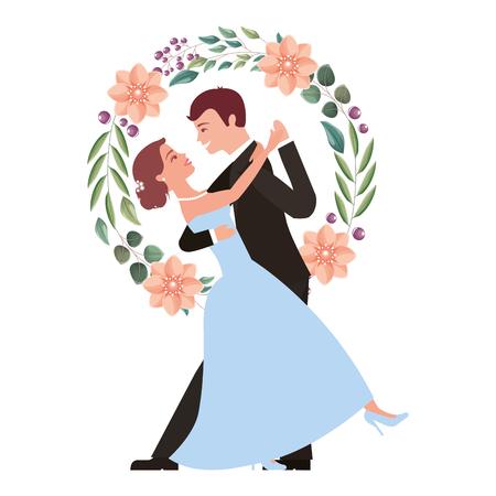 Braut und Bräutigam und ihre erste Tanzhochzeitskranzblumenvektorillustration
