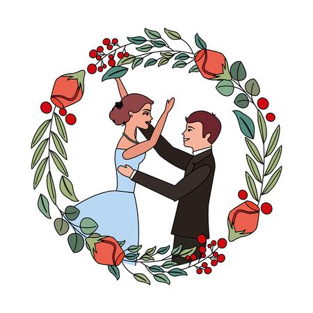 bride and groom celebrating wedding day frame flowers vector illustration 向量圖像