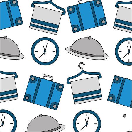 hotel suitcase clock tray and towel hook background vector illustration Banco de Imagens - 114994829