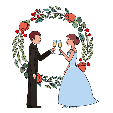 couple toasting wine glasses in wedding day wreath flowers vector illustration