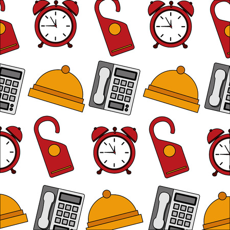 hotel bell clock alarm telephone and do not disturb tag background vector illustration Illustration
