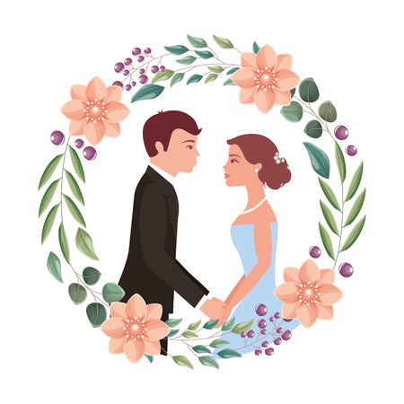couple wedding day flowers in wreath flowers vector illustration Illustration
