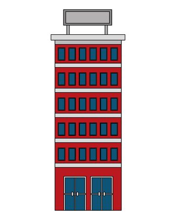 hotel building with placard on roof vector illustration Ilustração