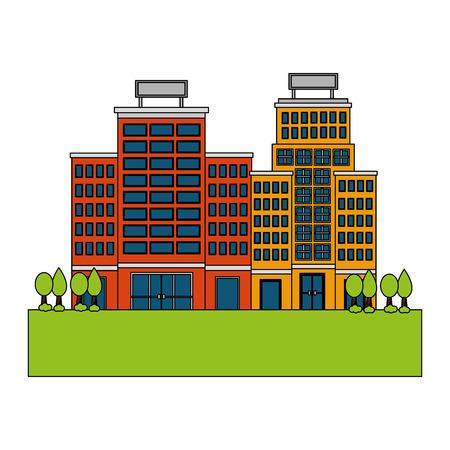 hotel buildings meadow trees nature scene vector illustration Çizim