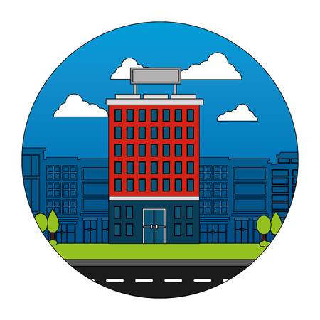 hotel buildings accommodation trees street vector illustration Banco de Imagens - 114994844