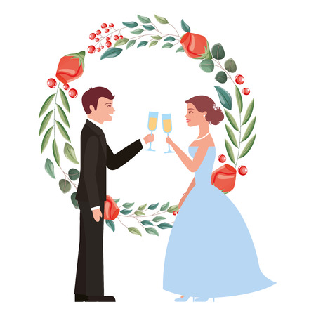 couple toasting wine glasses in wedding day wreath flowers vector illustration Stock Vector - 114994849