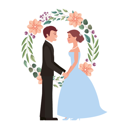 bride and groom holding hands in wreath flowers vector illustration Çizim
