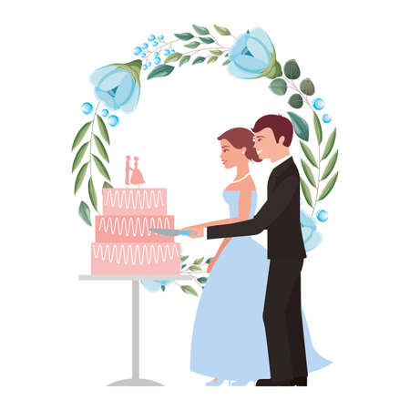 bride and groom cutting wedding cake wreath flowers vector illustration