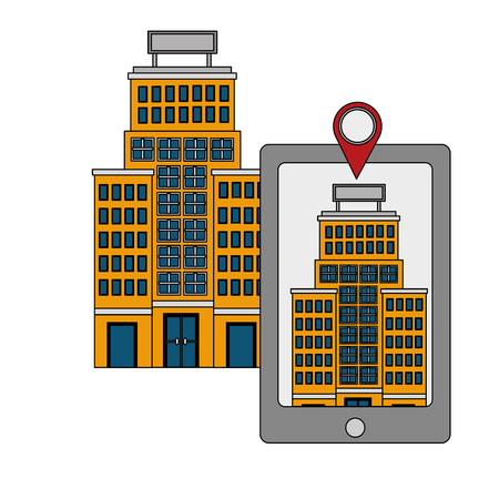 hotel building trees and taxi service vector illustration 向量圖像