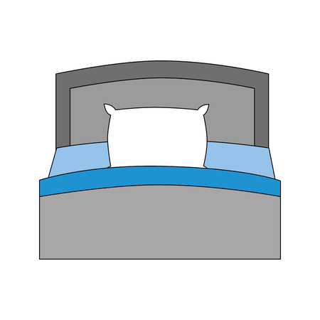 wooden bed pillow and blanket front view vector illustration 写真素材 - 114994855