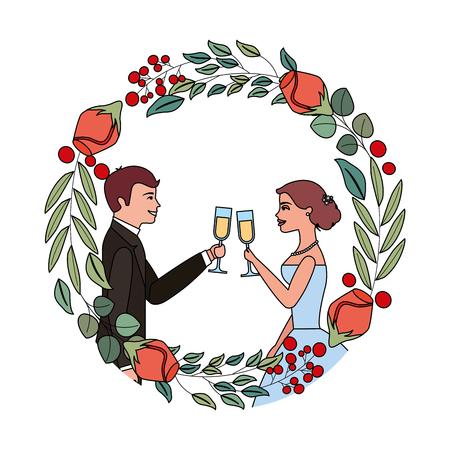 couple toasting celebrating wedding day in flowers frame vector illustration