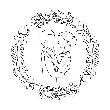 married couple and crown with beauty rose flower vector illustration design