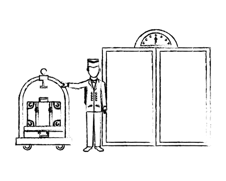 door of elevator with bellboy hotel isolated icon vector illustration design Illustration