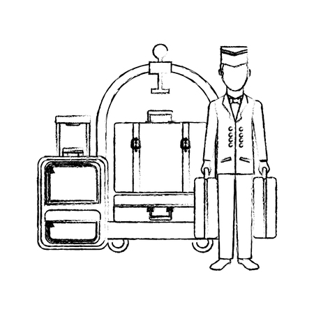 bellboy hotel worker with cart hotel and suitcases isolated icon vector illustration design Illusztráció