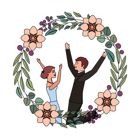 bride and groom celebrating wedding day frame flowers vector illustration