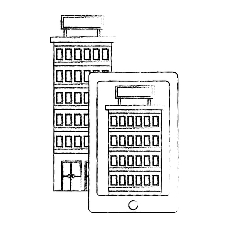 smartphone device with building hotel isolated icon vector illustration design