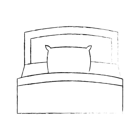 bed and pillow isolated icon vector illustration design
