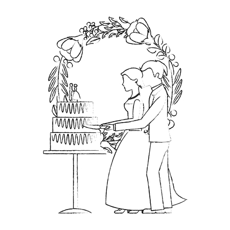 married couple and crown with beautiful flowers vector illustration design  イラスト・ベクター素材