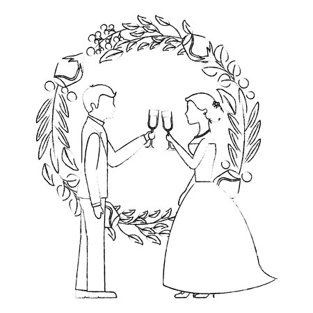 married couple and crown with beauty rose flower vector illustration design  イラスト・ベクター素材
