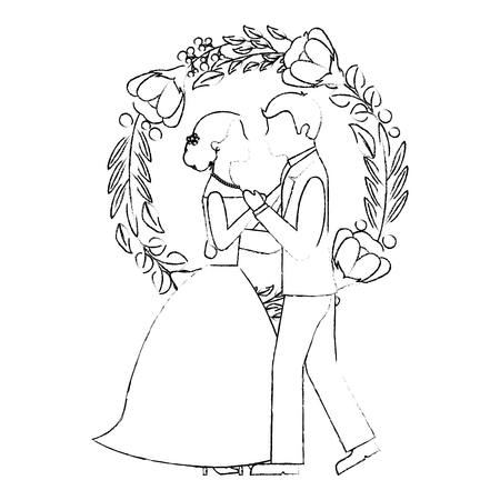 married couple dancing and crown with beauty flower vector illustration design