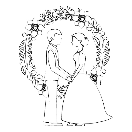 married couple and crown with beauty flowers vector illustration design