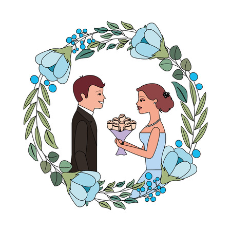 bride with bouquet and groom wedding day in flowers frame vector illustration