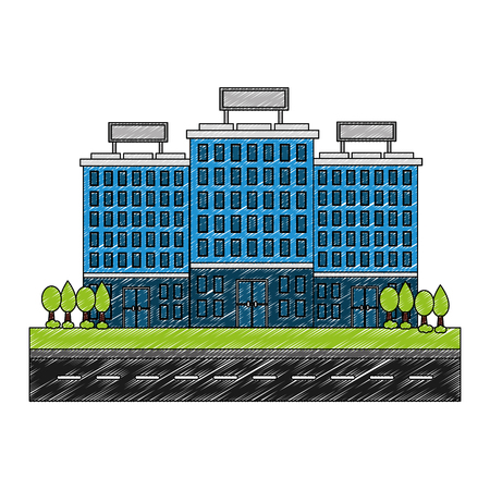 buildings hotel with trees plant isolated icon vector illustration design Illustration