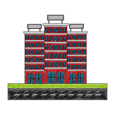 buildings hotel with road isolated icon vector illustration design