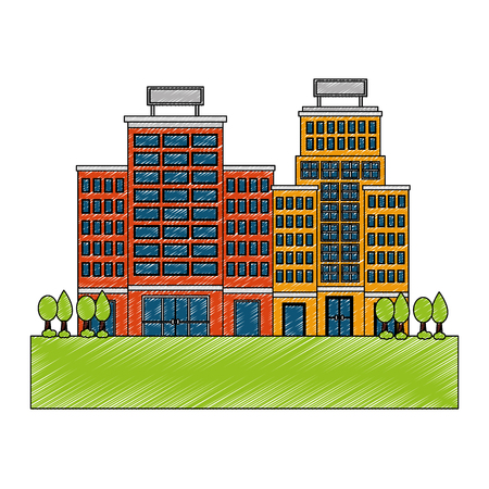 buildings hotel with trees plant isolated icon vector illustration design Çizim