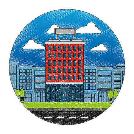 building hotel with cityscape and road isolated icon vector illustration design