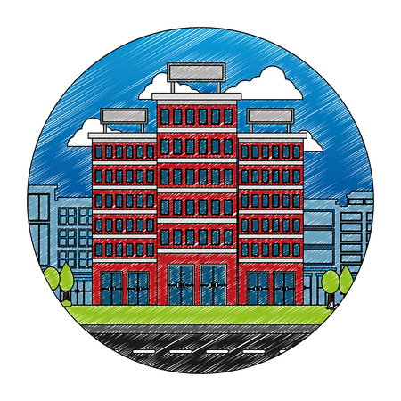 buildings hotel with cityscape and road isolated icon vector illustration design